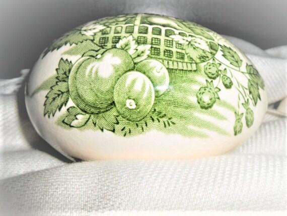 England Ironstone Vintage Mason\u2019s Egg Fall Fruits and Pumpkins Green Transferware Ceramic Trinket Box