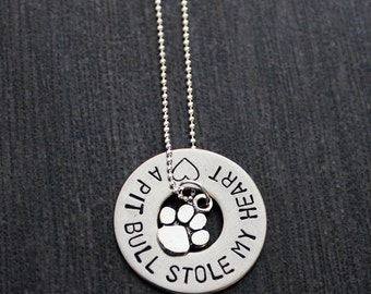 Hand Stamped Pit Bull Support Saying Paw Print Necklace 10% Proceeds to Pit Bull Organization