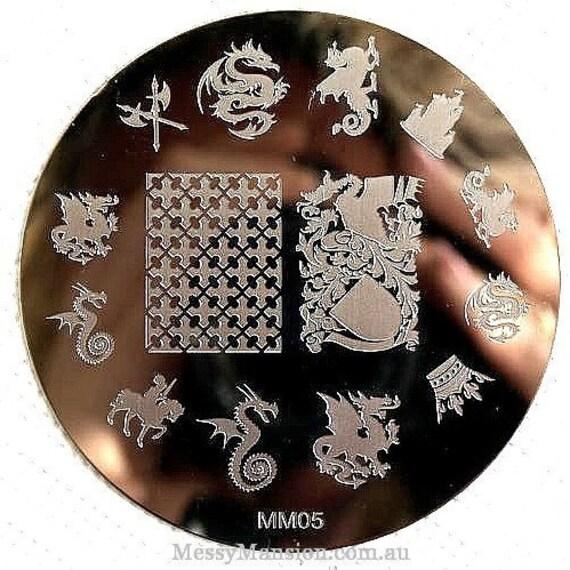 Nail Art Stamping Image Plate Mm05 Dragons Medieval Etsy