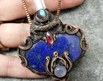 Lapis lazuli Rainbow moonstone Garnet quartz crystal fluorite hand formed Artisan clay Sam Art studio design Samulet healing gemstone Amulet