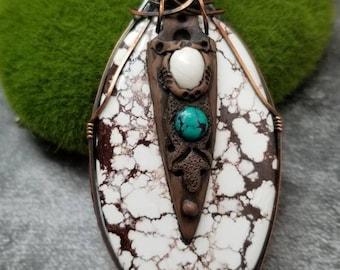 Wild Horse Crazy Horse Bisbee White Buffalo Turquoise copper wire wrapped Artisan clay Sam Art studio design Amulet healing gemstone Samulet