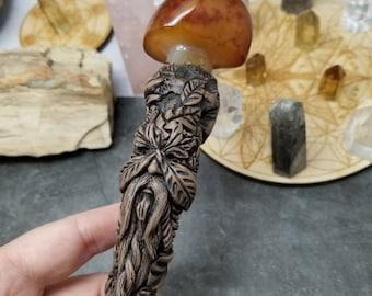 Greenman scepter Mushroom Wand wizard Sage  staff magick sorcerer shamanic herbs Sam Art studio clay healers tool