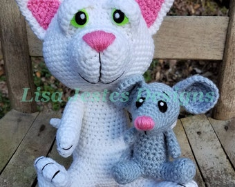 Kitty Cat and Mouse Amigurumi Crochet Pattern. PDF file only, doll not included.
