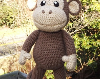 Large Baby Monkey Amigurumi Pattern with Bonus Santa Hat Pattern, PDF only.