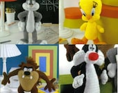 Looney Tunes Bugs Bunny, Taz, Sylvester Tweety Bird Crochet Patterns (4)