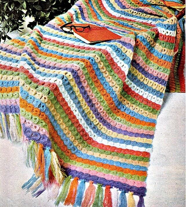 Crochet Blanket Pattern Rainbow Broomstick Lace Etsy