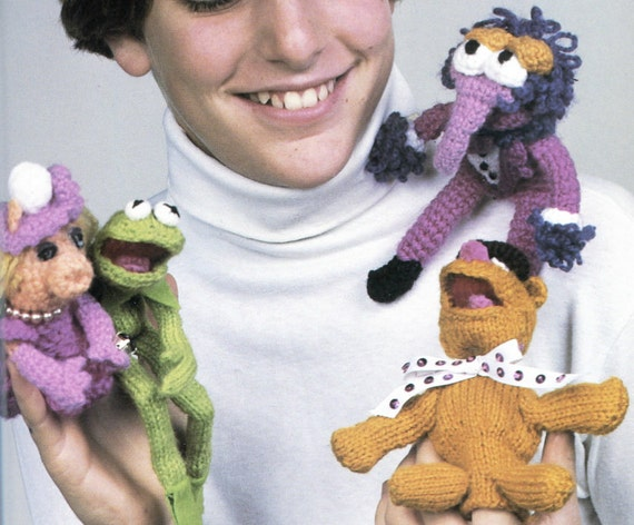 Muppets Knit And Crochet Pattern Kermit The Frog Mrs Piggy Etsy