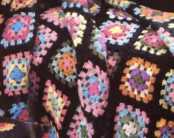 Classic 1970s Granny Square Crochet Blanket Pattern 50x65 Afghan Throw Instant Digital Download PDF Granny Motif Retro Hippy Home Decor