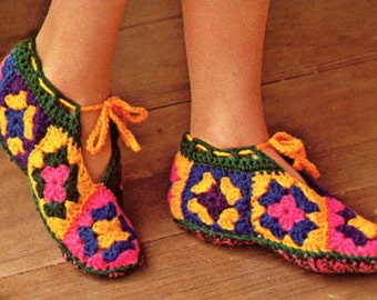 Granny Squares Slippers - Crochet Pattern