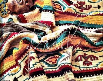 Indian Summer Crochet Blanket Pattern, Afghan Instant Digital Download pdf, Southwestern Style Decor Navajo Aztec Thunderbird Vibes 50x70