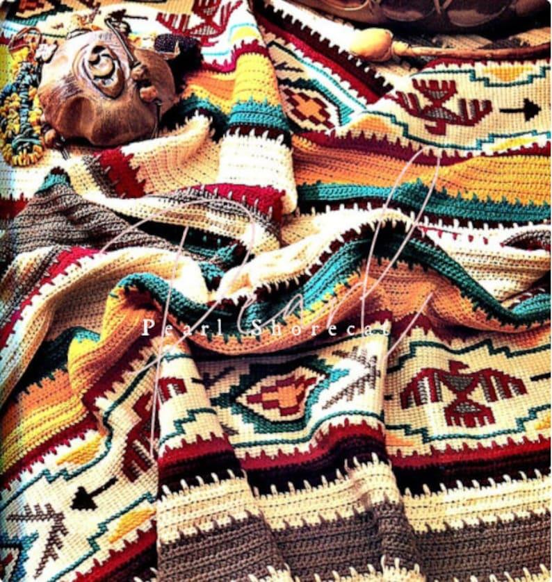 Crochet Blanket Pattern  Indian Summer Afghan Instant Digital image 0