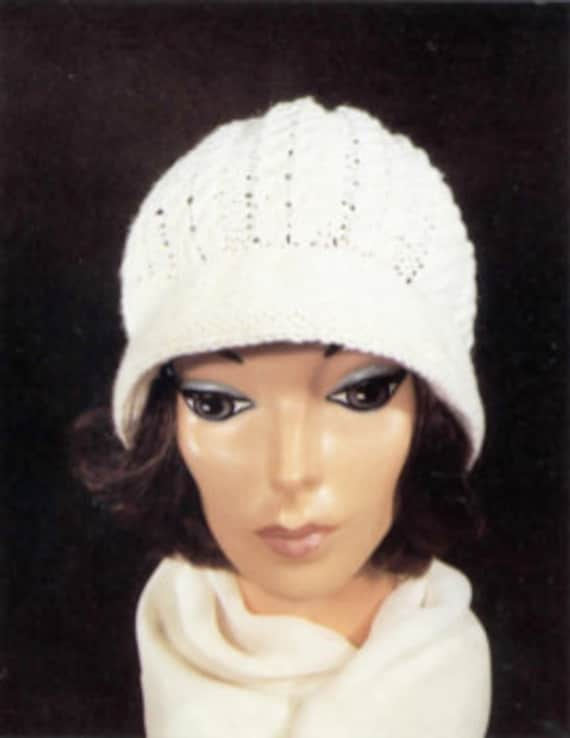Simple Cable Stitch Cloche Knit Pattern Classic Vintage Etsy