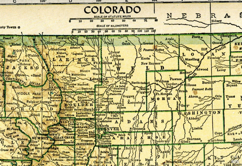 1949 Vintage Colorado State Map Print Pdf Digital Download Etsy