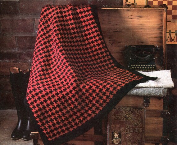 Gorgeous Houndstooth Knit Blanket Pattern Etsy