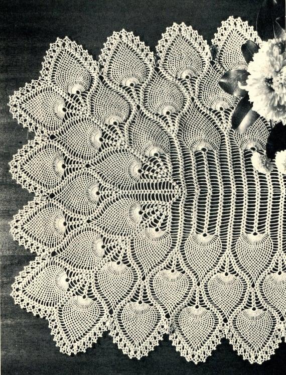 1940s Pineapple Crochet Table Runner Pattern Heirloom Etsy