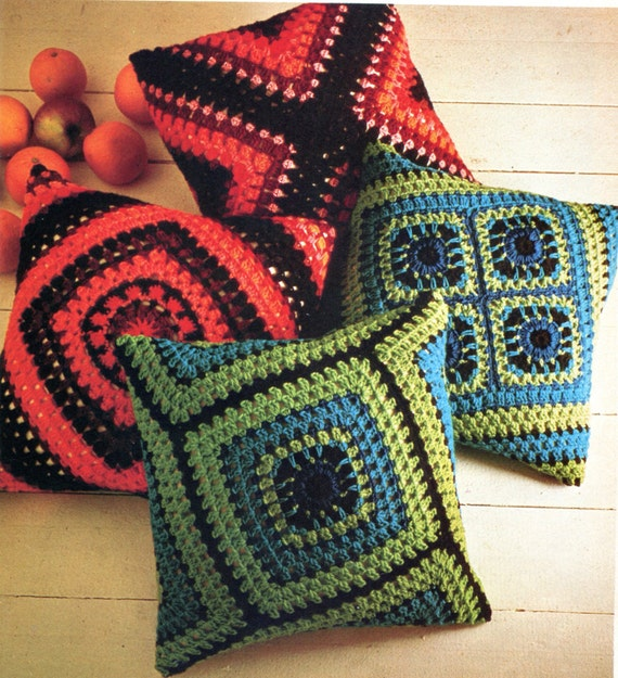 Two Fabulous Crochet Granny Square Pillow Patterns Instant Etsy