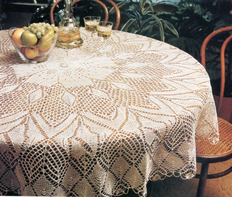 Knit Tablecloth Pattern Beautiful Apple Blossom Design | Etsy