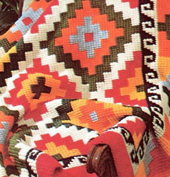 Earthy Geometric Indian Afghan Crochet Pattern Etsy