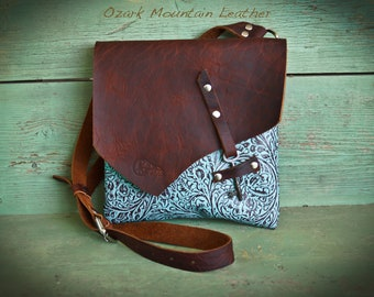 805056fb91 Bison and Turquoise Leather Crossbody Bag Skeleton Key Closure to be worn  cross body great travel bag or everyday bag all leather handmade