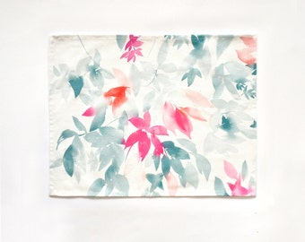 Set of Two (2) Aqua Leaves Watercolor Placemats