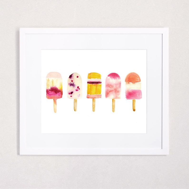 Oh Summer  Popsicle Watercolor Art Print in Cheerful Fuchsia image 0