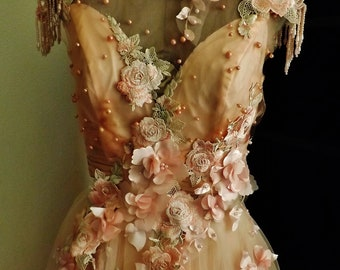 Pale Blush Wedding Dress 3 D Flowers Pearls Embroidered Appliques 6a90760f9f6