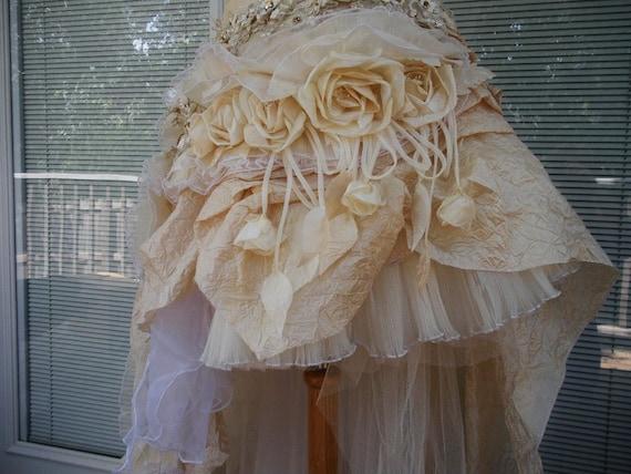 Beige With White Lace Handmade Wedding Dress: CUSTOM Handmade Victorian Wedding Dress Mini Plus Tail White