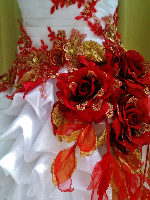 Made To Order Handmade Red White Wedding Dress Train Red Gold Etsy
