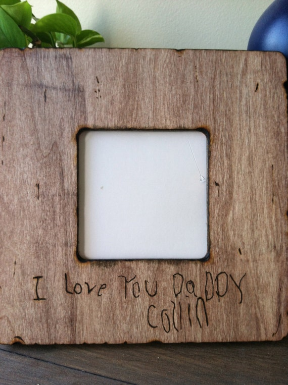 Personalized Picture Frame with Custom Wood Burned Handwriting