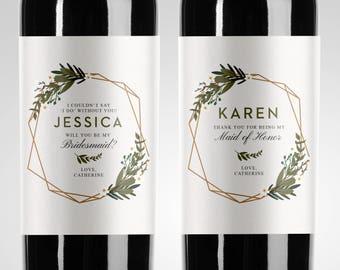 Bridesmaid Proposal Wine Label Etsy