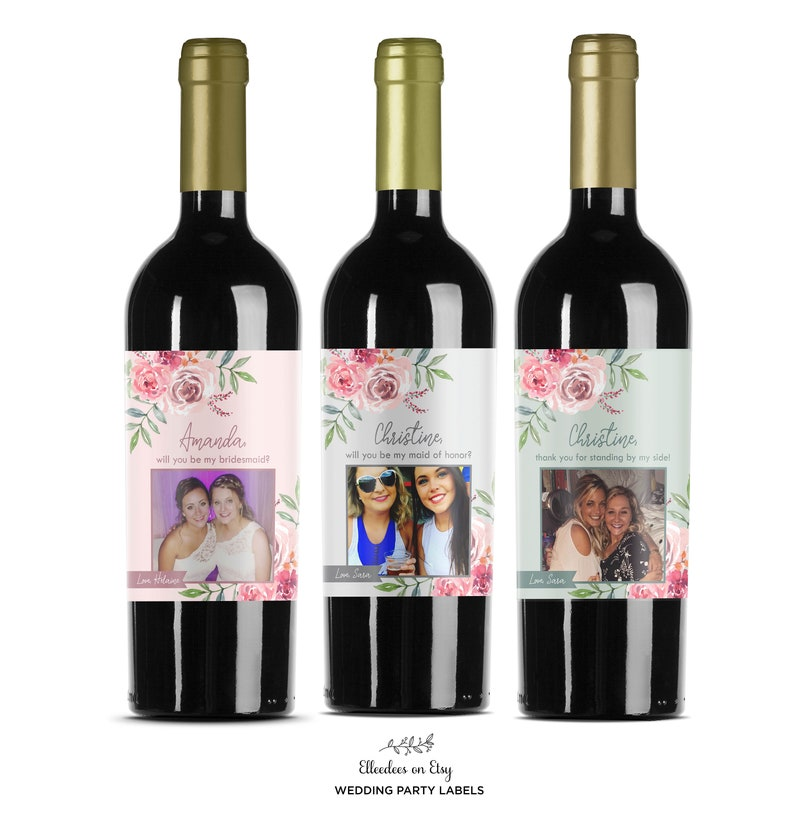 Custom Flower Bridesmaid Wine Labels  Maid of Honor Proposal Labels  Will you be my Bridesmaid  Watercolor Flower  Thank you Gift