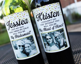 Gold, Silver, Pink Confetti Wedding Party Proposal Wine Labels // Custom Wine Label with Picture // Thank You Wine Label