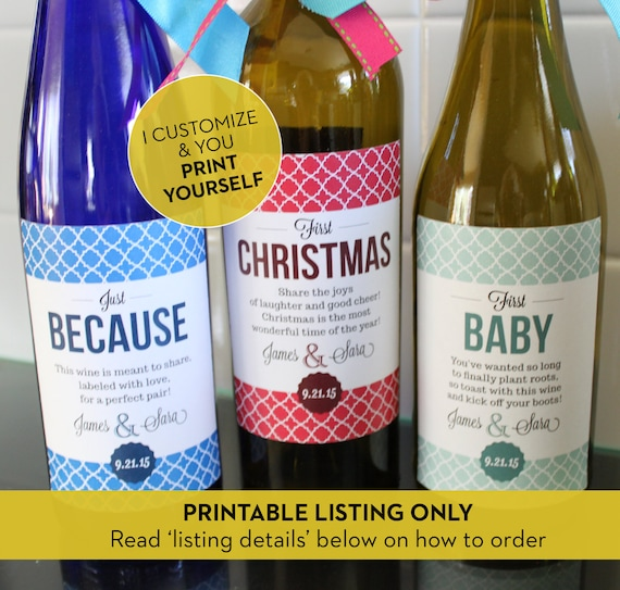 Wedding Milestone Wine Labels A Year Of Firsts Wine: PRINTABLE // Modern Wedding Milestone Wine Labels