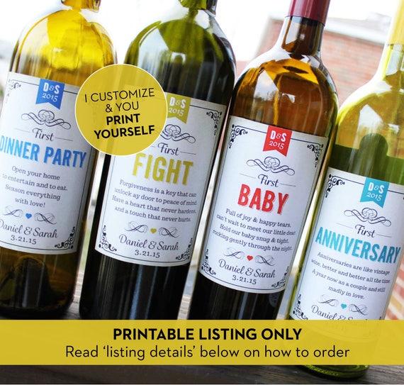 Wedding Milestone Wine Labels Unique Wedding Gifts: PRINTABLE // Personalized Wedding Milestone Wine Labels