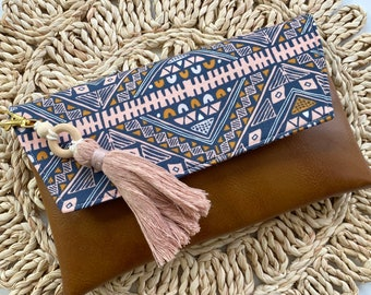 Boho Essential Oil Clutch, Brown Faux Leather Essential Oil Clutch, Essential Oil Wallet