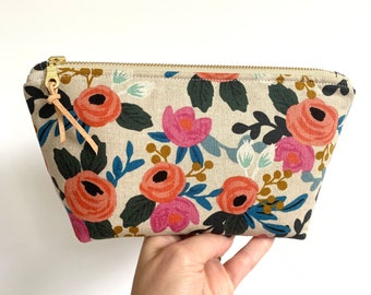 Rifle Paper Co. Essential Oil Bag, Coral Floral Oil Bag, Canvas Oil Travel Bag