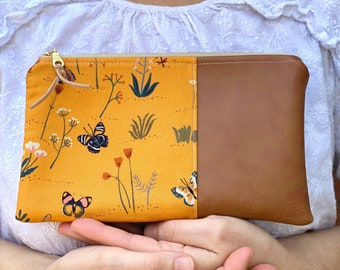 Yellow Butterfly Essential Oil Bag, Wildflower Zipper Pouch, Butterfly Wristlet Bag, Butterfly Clutch, Yellow Oil Wallet, Leather Oil Wallet