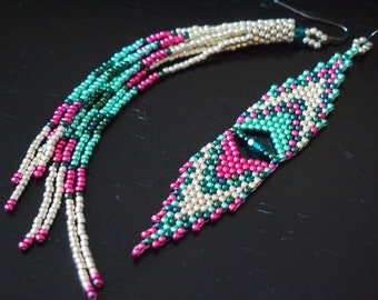 fun & funky fringes and chevrons asymmetrical earring set. mismatched seed bead earrings in metallic colors. teal, hot pink, and silver.