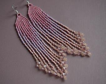 pinkish peachy mauve fringe seed bead earrings. pink ombre earrings. long fringe earrings with light pink crystal sparkle