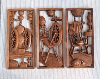 Vintage 1960's Sculpted Wall Hanging Plaques Burwood Products Co Set of Three