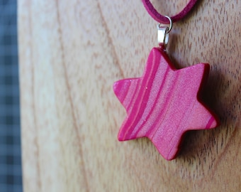 Polymer clay Pink swirl Star of David necklace
