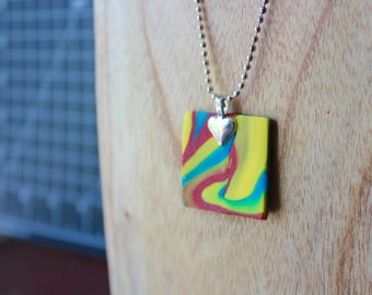 Multi Colored Rainbow Swirl polymer clay necklace