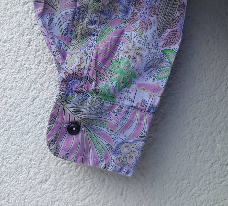 Neck 15 inch UK size Chest 3840 Mens Vintage 1980/'s Italian Jungle Print Cotton Purple Shirt