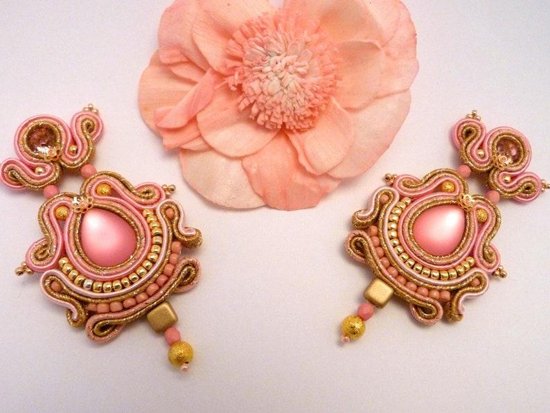 long dangle earrings Flamenco soutache earrings golden rose earrings chandelier earrings big earrings bright earrings elegant earrings