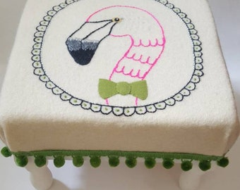 Embroidered Flamingo Upcycled Decorative Foot Stool