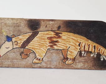Tiny Anteater in a Party Hat original painting on recycled wood