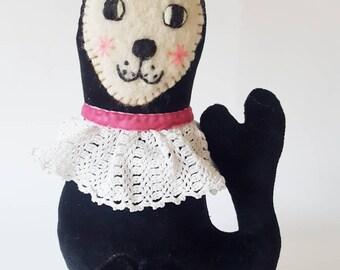 Black Velvet Dandy Seal soft sculpture