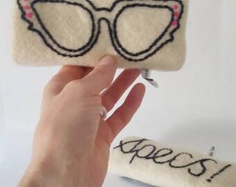 Dame Edna hand embroidered glasses case
