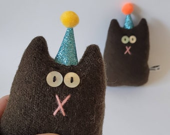 Birthday Cat, party cat birthday gift, wool cat soft toy, cat in a party hat, eco friendly anniversary gift