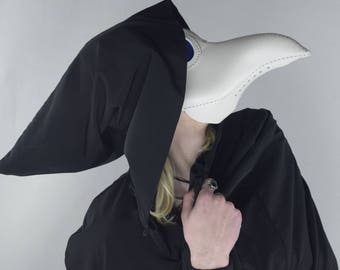 Plague Doctor Mask, Leather Mask, Steampunk. Halloween Mask, Raven, Cosplay, Costume, White